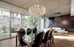 contemporary crystal chandelier dining room