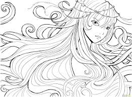 Anime Girl Coloring Pages Page Color Sheets Printable Image Girls