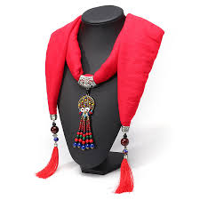 ethnic scarf necklace silver colorful tassels beads flower pendant casual soft scarf long necklace