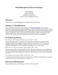 Resume Objective Examples For Retail