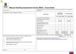 Manual Handling Assessment Charts Mac Score Sheet Insert