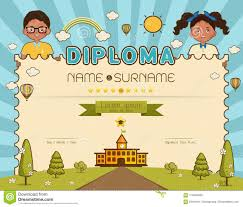 Kids Certificate Border Certificate Kids Diploma Vector Illustration Stock Vector