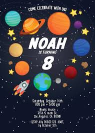 Space Party Invitation Digital Printable Space Birthday Invitation Planets