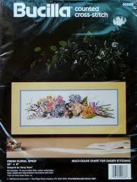 Amazon Com Bucilla Fresh Floral Spray Counted Cross Stitch Kit