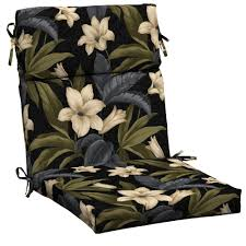 amazing of high back patio chair cushions hampton bay black tropical blossom outdoor dining chair cushion home remodel images