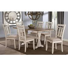 baxton studio roseberry shabby chic french country cote antique oak wood and distressed white dining set with trestle base fixed top dining table