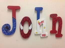 Spiderman Bedroom Decorations Spider Man Letters Wood Letters Room Decorprice Per Letter