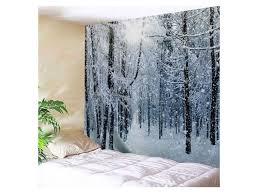 snow forest print tapestry wall hanging art decoration at rosegal