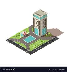 office block design. Isometric Office Building Design Vector Image Block