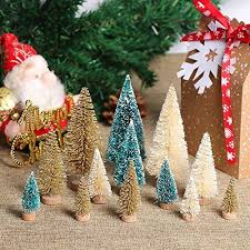 <b>OurWarm 24Pcs</b> Artificial Frosted Sisal Christmas Tree, Bottle Brush ...