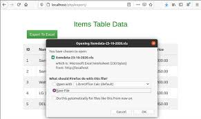 export mysql data to excel in php