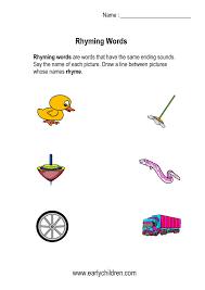 Kindergarten Rhyming Words Worksheets
