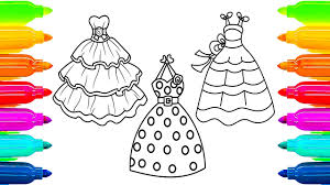 Small Picture Dresses Coloring Pages for Girls How to Paint with Colored