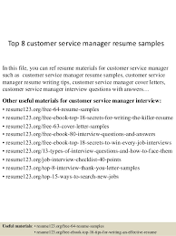 Resumes Samples For Customer Service Top 8 Customer Service Manager Resume Samples