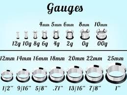 Earring Gauge Actual Size Chart Jewelry Flatheadlake3on3