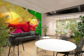 wall art for office space. Open Plan Office Space With Mindfulness Wall Art Mural For Workplace Wellbeing.jpg