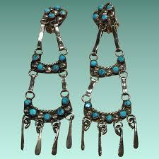 zuni style turquoise dangle clip earrings