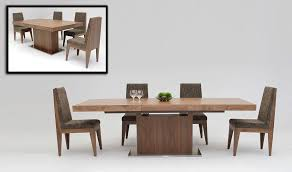 Modern Walnut Extendable Dining Table