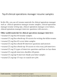 Top 8 clinical operations manager resume samples In this file, you can ref  resume materials ...