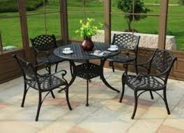 f durable dining furniture set ideas for garden patio inspiration presenting black plastic round height table with curved legs and the equipped four black outdoor balcony furniture
