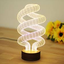 Night Lamps For Bedroom Spiral 3d Illusion Bulb Lamp Led Night Light Usb Table Desk Lamps