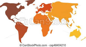 Multicolored World Map Divided To Six Continents In Different Colors North America South America Africa Europe Asia And Australia Oceania