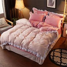 red plaid bedding sets 100 washed cotton crystal velvet bed linen lace edge duvet cover patchwork bedspread pillowcase duvets king comforters from
