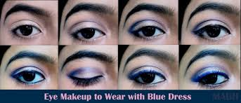 tips for wearing eye makeup with blue dress