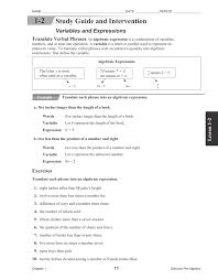 translate algebraic expressions worksheet
