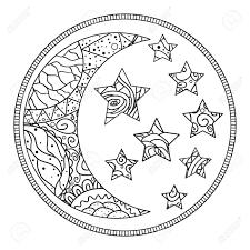 Moon Mandala Design Mandala Crescent Half Moon And Stars With Abstract Patterns
