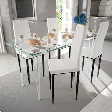 Ensemble 1 Table En Verre Trempé 4pcs Chaises Moderne En Cuir