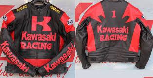 men black and red kawasaki motorcycle biker leather jacket 07gg2 zoom helmet
