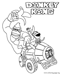 Donkey Kong Donkey And Diddy Kong In Their Vehicle Coloring Page