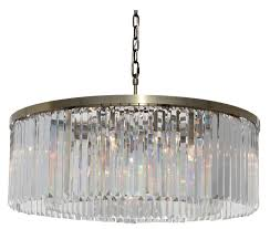 d angelo 12 light round clear glass crystal prism chandelier antique brass finish