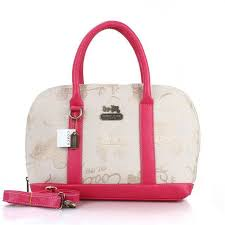 Coach Poppy Logo Style Medium Pink Khaki Satchels EUM