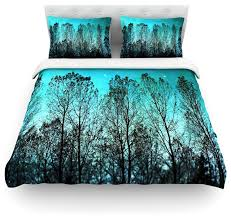 sylvia cook dark forest blue trees duvet cover cotton twin contemporary