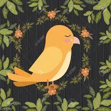 Yellow Bird Design Cute Yellow Bird In Forest Scene Vector Illustration Design