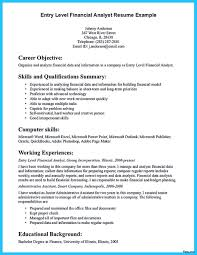 Entry Level Financial Analyst Resume Summary Proyectoportal Com