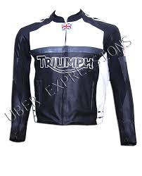 triumph black white motorbike motorcycle racing armour leather jacket uber expressions