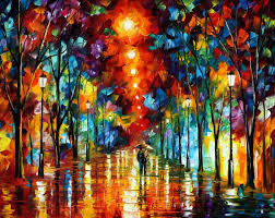 night park palette knife oil painting on canvas by leonid afremov size 48