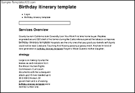 Free Download Birthday Party Itinerary Template Sample