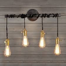 industrial pipe lighting. Plain Pipe 24 Inches Wide Natural Iron Four Light Industrial Hanging Pipe LED Wall Lamp For Lighting