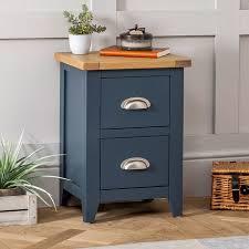 westbury blue painted slim 2 drawer