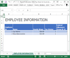 Monthly Paycheck Calculator Payroll Calculator With Pay Stubs For Excel
