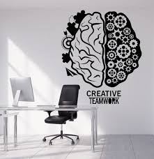 creative office decor. Vinyl Wall Decal Brain Teamwork Gear Creative Office Decor Stickers (1317ig) S