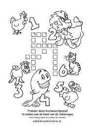 Kleurplaat Kruiswoordpuzzel Dieren Spelletjes