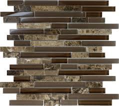Mosaic Kitchen Backsplash 1sf Brown Glass Natural Stone Linear Mosaic Tile Wall Kitchen