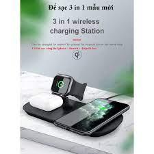 Đế sạc không dây đa năng 3 trong 1 .Sạc cùng lúc Iphone ,Apple Watch  ,AirPods .Công nghệ sạc nhanh chuẩn Qi - Đế sạc không dây Nhãn hàng No  Brand