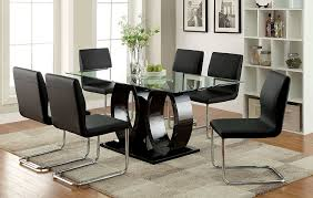 rectangle glass dining room table. Amazon.com - Furniture Of America Quezon 7-Piece Glass Top Double Pedestal Dining Set, Black Table \u0026 Chair Sets Rectangle Room L