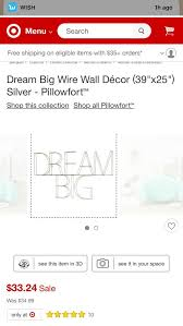 dream big wire wall décor 39 x25 silver pillowfort for in zachary la offerup